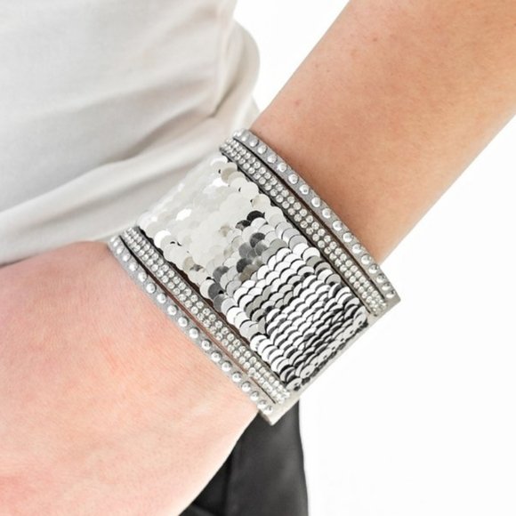 mermaid silver grey holographic Bracelet silver